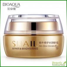 Увлажняющий крем для лица с муцином улитки Snail Repair & Brightening Bioaqua
