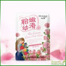 Отбеливающая маска с козьим молоком и экстрактом из розы Natural Extract Bioaqua